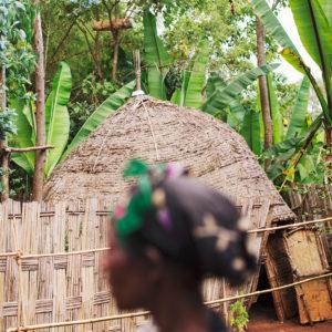Afrikanische Hütte in Äthiopien, das Bild aus Afrika ist erhältlich im Onlineshop