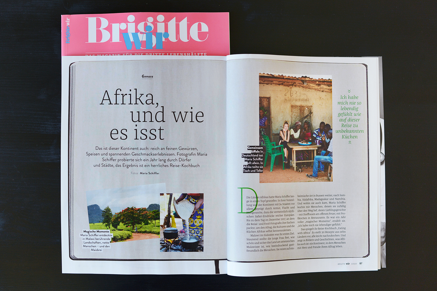 Artikel über Eating with Africa, Maria Schiffer in Brigitte Wir