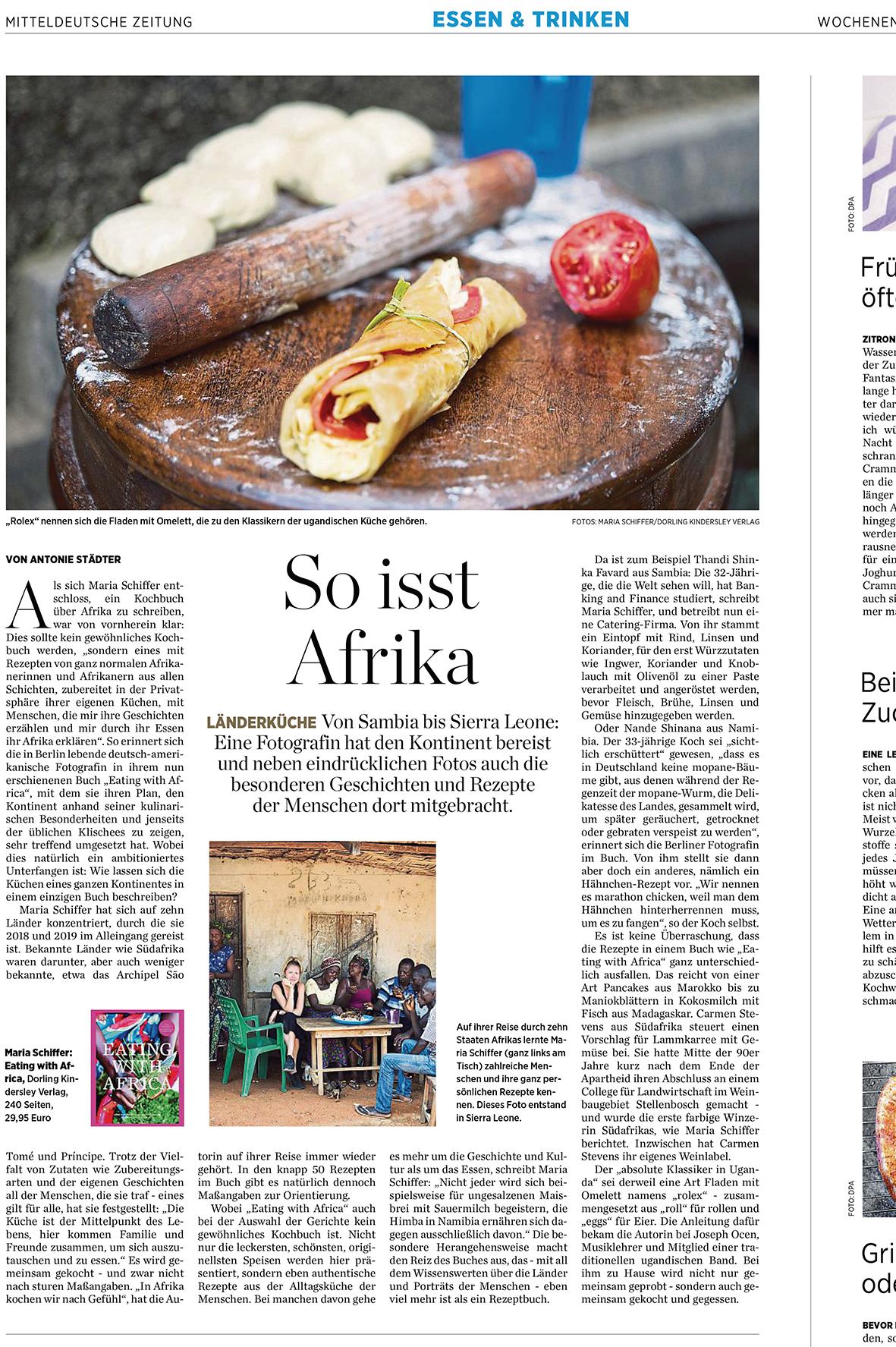 Artikel über Eating with Africa, Maria Schiffer, in Mittel deutsche Zeitung