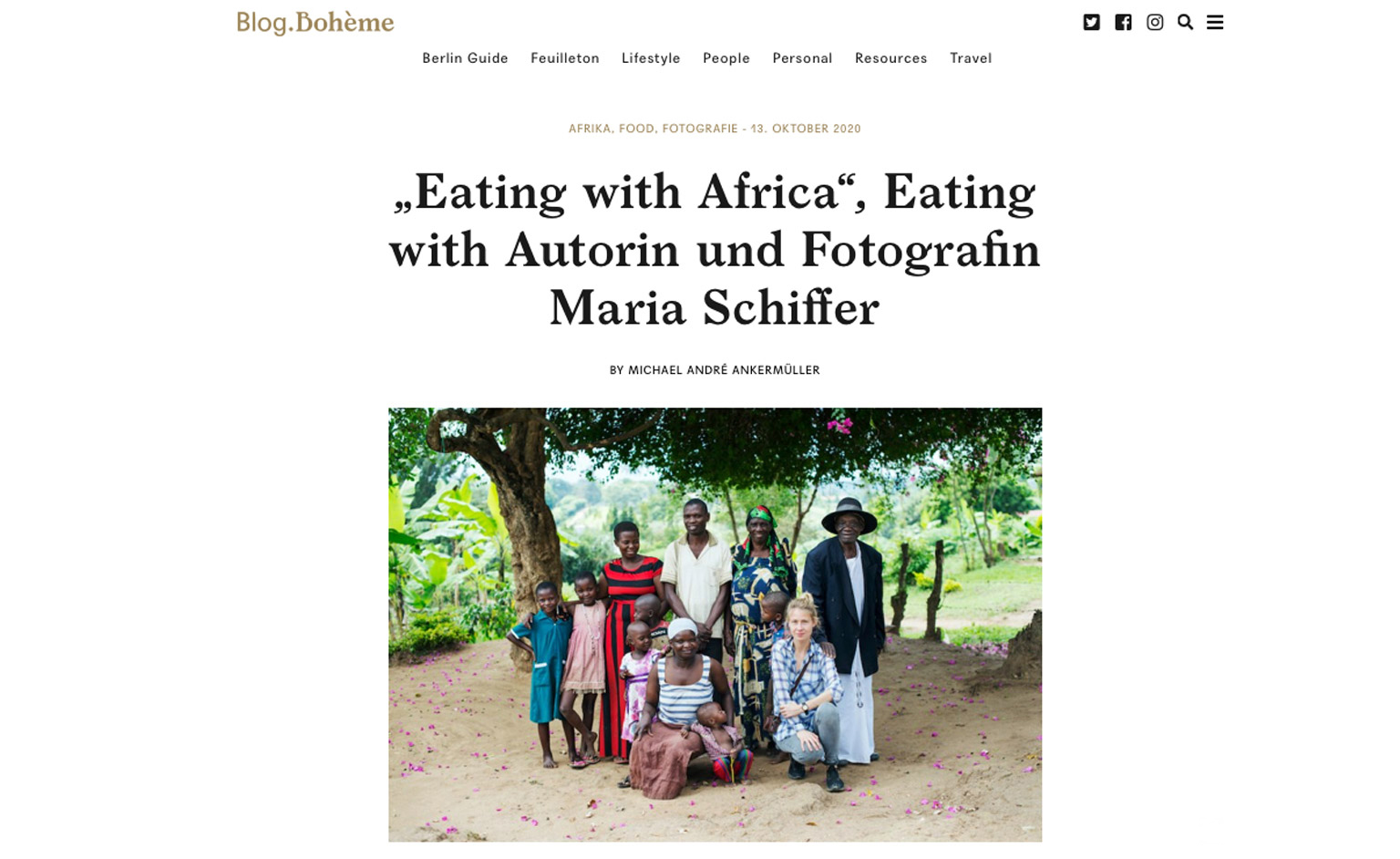 Artikel über Maria Schiffer Eating with Africa